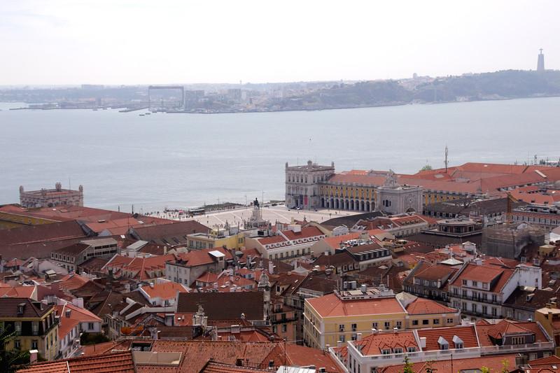 Aerial view of Baixa district and Praca do Comercio Lisbon Portugal