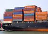 Container ship at Lisbon docks Portugal