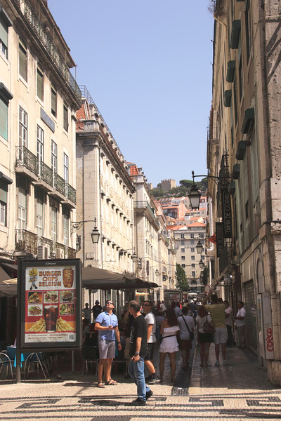 Street with open air cafes Baixa district Lisbon Portugal