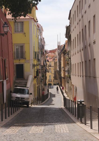 Street in Alfama district Lisbon Portugal