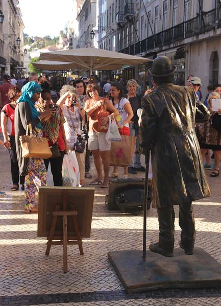 Busker in Rua Augusta Lisbon Portugal