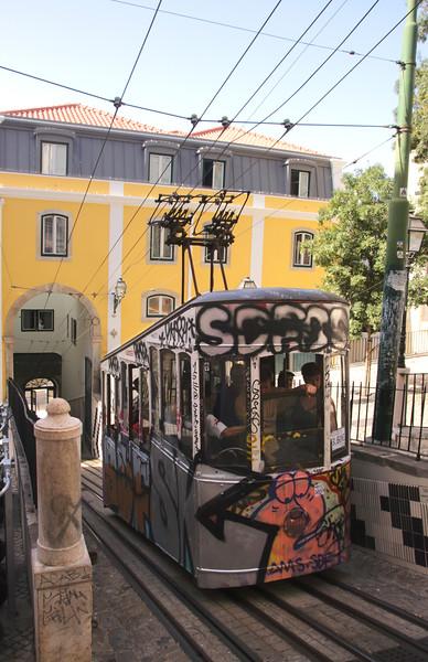 Tram near bottom of Elevador da Bica Bairro Alto district Lisbon Portugal
