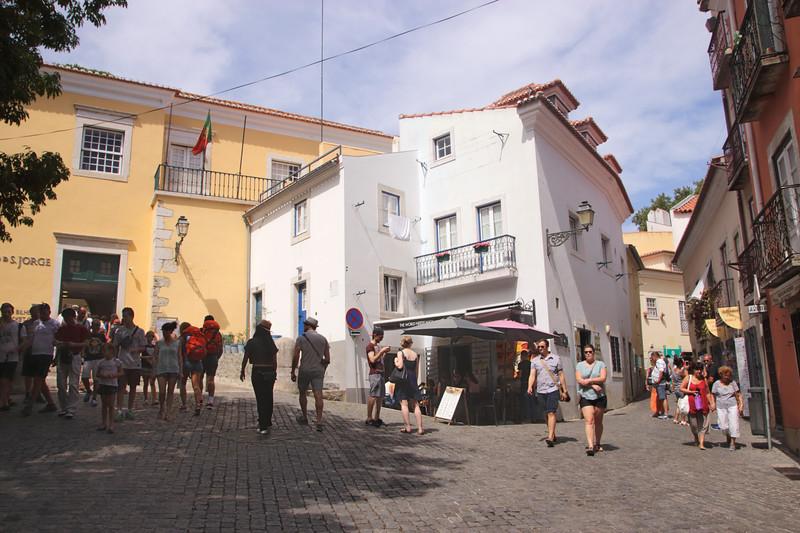 Narrow street in Santa Cruz area of Castelo de Sao Jorge Lisbon Portugal