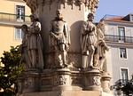 Closeup detail Luis de Camoes poet statue Chiado district Lisbon Portugal
