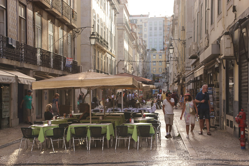Street with open air cafes Baixa Lisbon Portugal