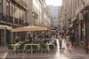 Street with open air cafes Baixa Lisbon Portugal