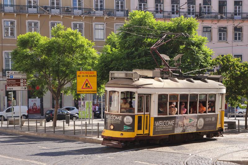 Tram in Santos district Lisbon Portugal