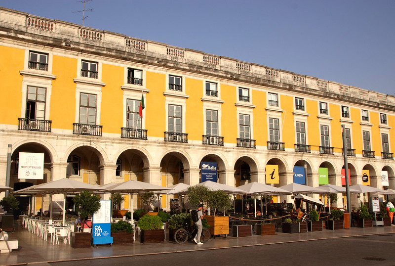 Restaurants at Praca do Comercio Lisbon Portugal
