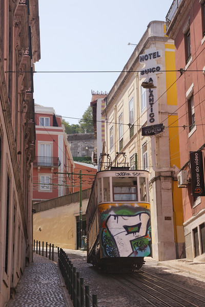 Tram in Elevador da Gloria Baixa District Lisbon Portugal