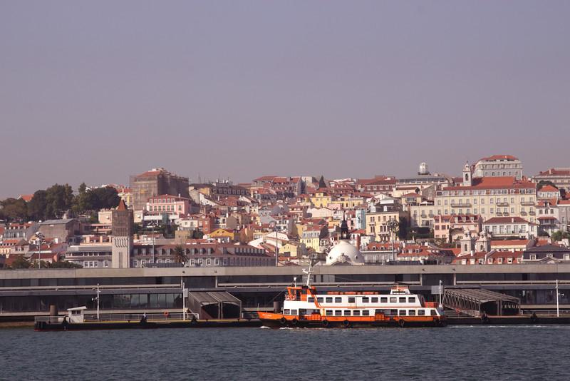 Lisbon cityscape and Estacio Fluvial ferryport Portugal