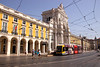 Tram in Praca do Comercio Lisbon Portugal