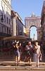 People walking near Arco da Rua Augusta Lisbon Portugal