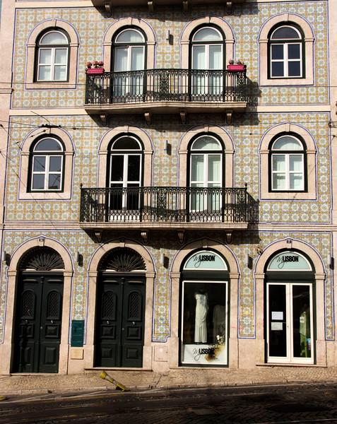 Ornamental tiled building in Bairro Alto Lisbon Portugal