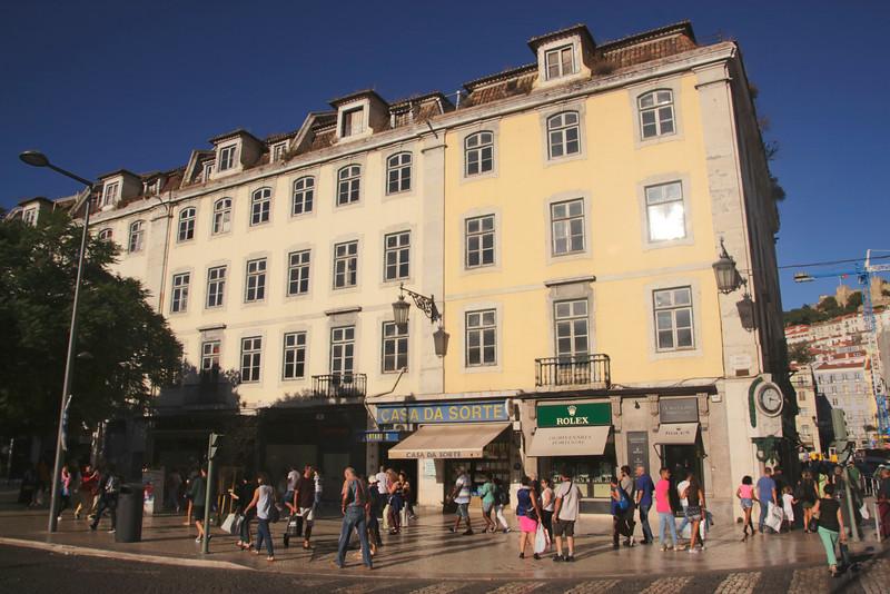 Shops at Rossio Square Lisbon Portugal