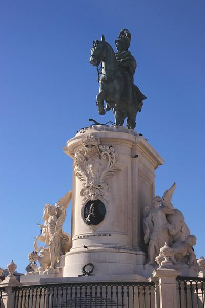 Statue of King Jose I in Praca do Comercio Lisbon Portugal