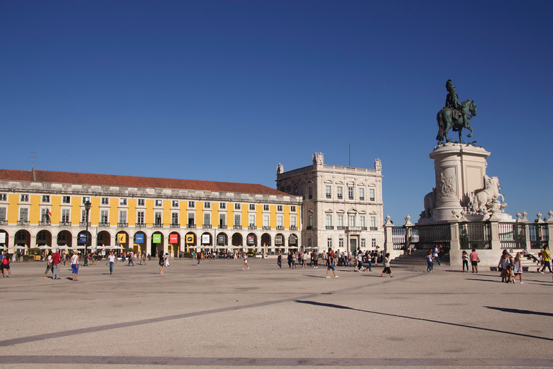 Praca do Comercio and statue of King Jose I Lisbon Portugal
