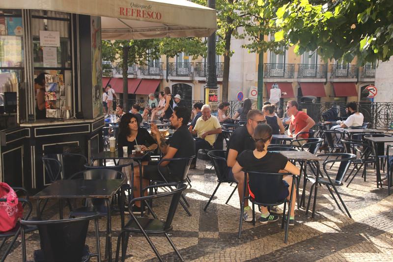 Open air cafe Praca Luis de Camoes Chiado district Lisbon Portugal