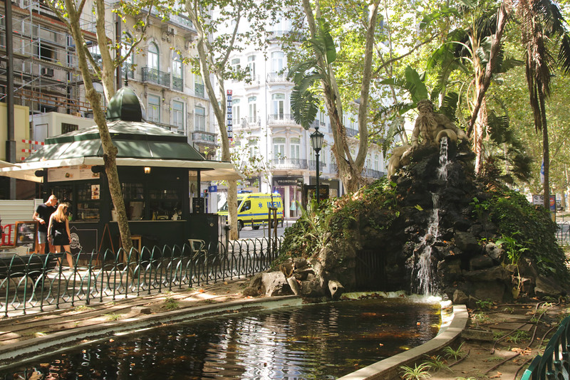 Tree shaded pond Avenida da Liberdade Lisbon Portugal