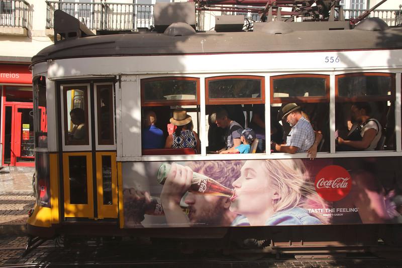 Tram in Praca Luis de Camoes Chiado district Lisbon Portugal