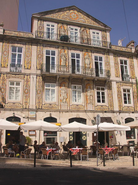 Chiado Terrasse restaurant bar and 1864 ornamental tiled house Lisbon Portugal