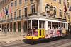 Tram in Baixa district Lisbon Portugal