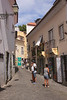 Narrow street in Santa Cruz area of Castelo de Sao Jorge Lisbon Portugal