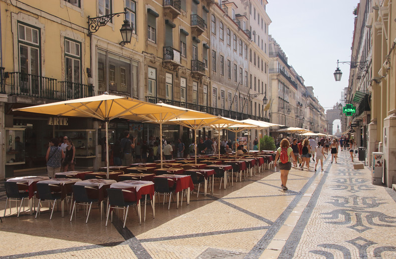 Open air cafes Rua Augusta Lisbon Portugal