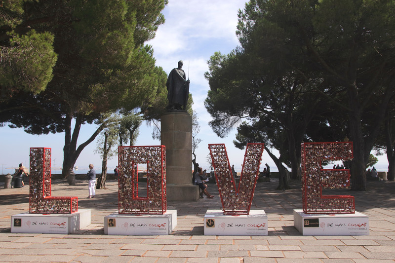 LOVE sign at Observation Terrace of Castelo de Sao Jorge Lisbon Portugal