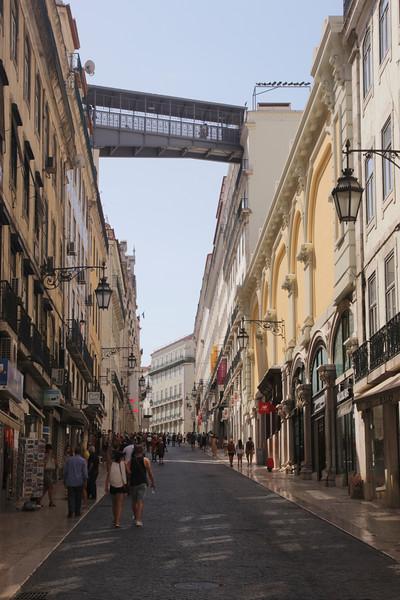 Rua Do Carmo in Baixa district Lisbon Portugal