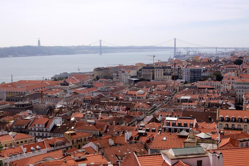 Lisbon cityscape and Ponte 25 de Abril bridge Portugal