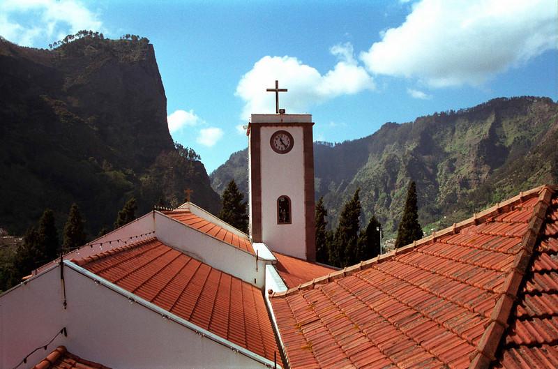 Church rooftop and belltower Nun's Valley Madeira