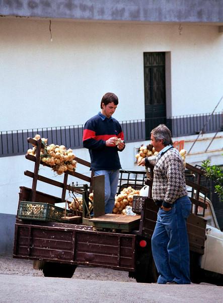Onion seller in truck Nun s Valley Madeira