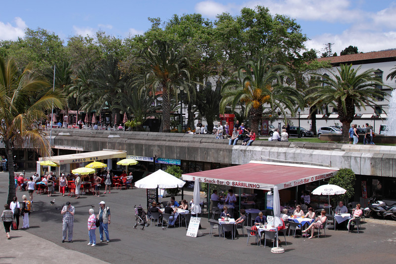 Cafes fronting the Marina at Funchal Madeira