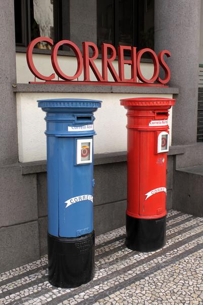 Post boxes in the Avenida Zarco Funchal Madeira