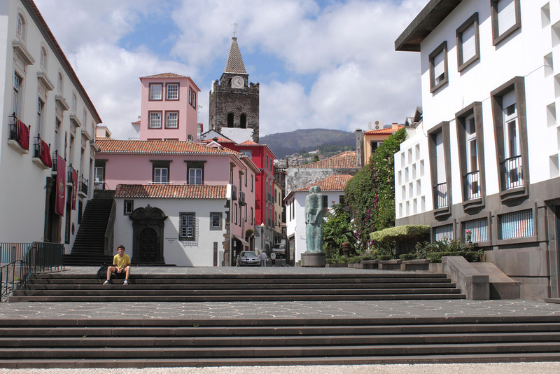 Regional assembly and statue Funchal Madeira
