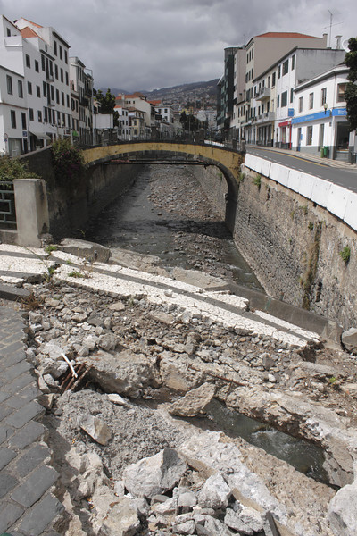 Canal of the Riba de Santa Luzia Funchal April 2011 bridge still showing flood damage from February 2010