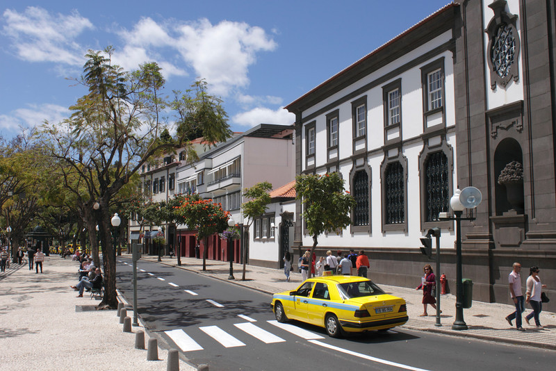View along the Avenida Arriaga Funchal Madeira