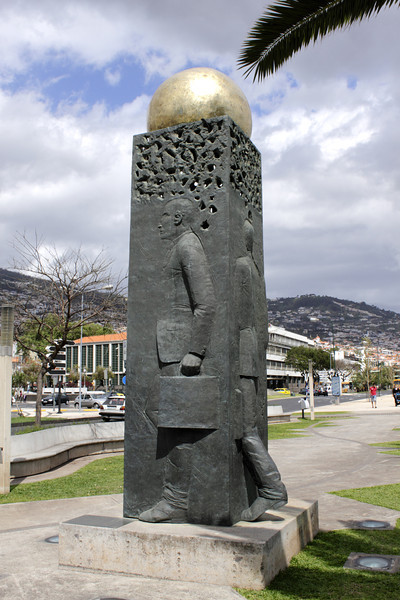 Statue at seafront promenade Funchal Madeira