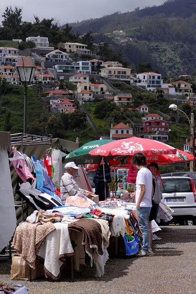 Souvenir and clothes market on the Pico dos Barcelos Funchal Madeira