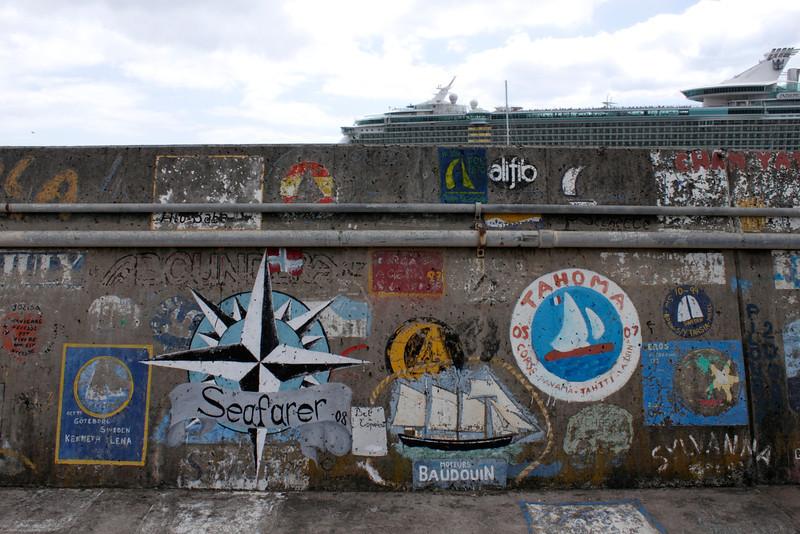 Graffiti at harbour wall Funchal Marina