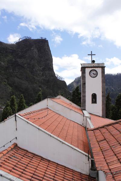 Church rooftop and belltower Nuns Valley Madeira