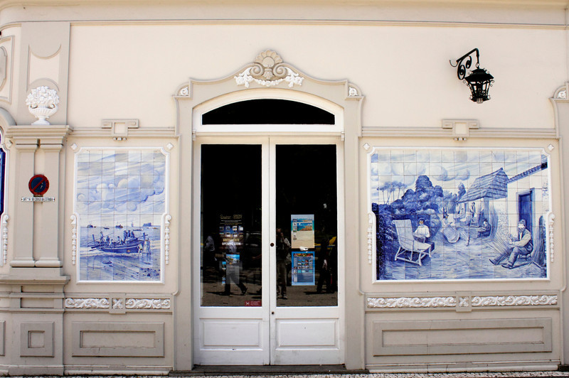 Building displaying Azulejos tiles in Avenida Arriaga Funchal Madeira