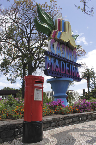 Casino Madeira sign and post box Funchal