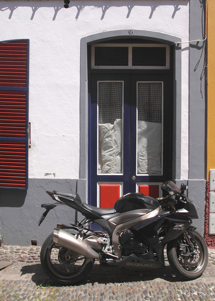 Motorbike in Old Town of Funchal Madeira