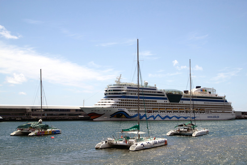 AIDA Blu cruise liner docked at Funchal harbour Madeira