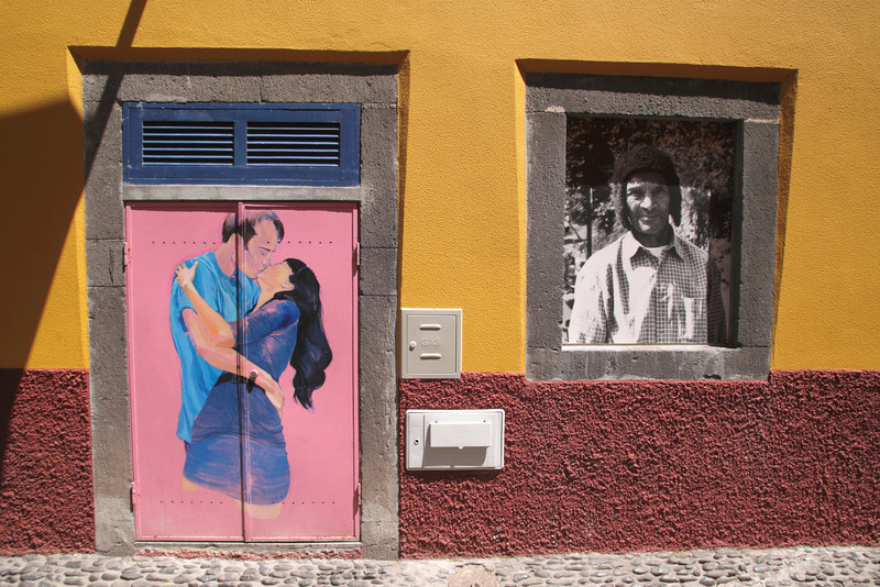 Colourful wall art in Old Town of Funchal Madeira