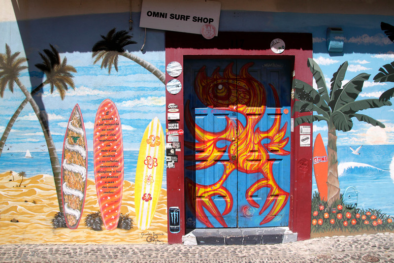 Colourful wall art on Omni Surf Shop in Old Town of Funchal Madeira