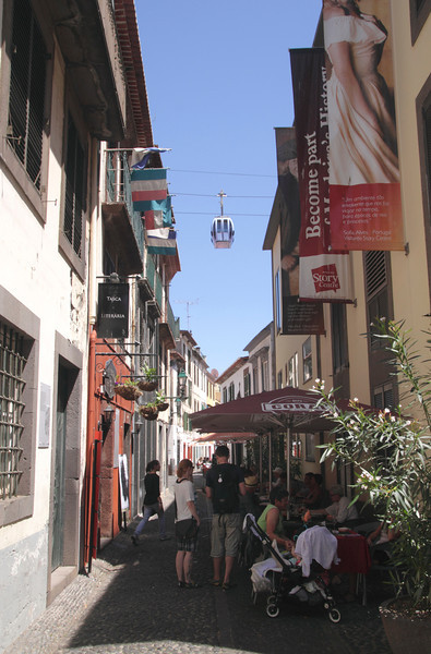 Rua de Santa Maria and cable car in Old Town Funchal Madeira