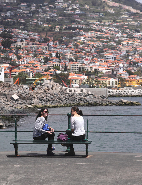 Young Portuguese women at the Marina Funchal Madeira