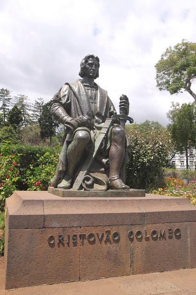 Statue of Christopher Columbus at Parque de Santa Catarina Funchal Madeira